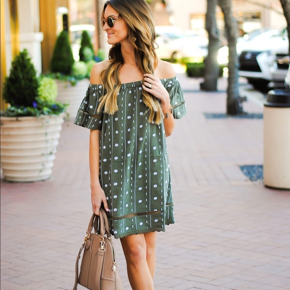 Topshop Dresses & Skirts - Green Topshop Off the Shoulder Dress
